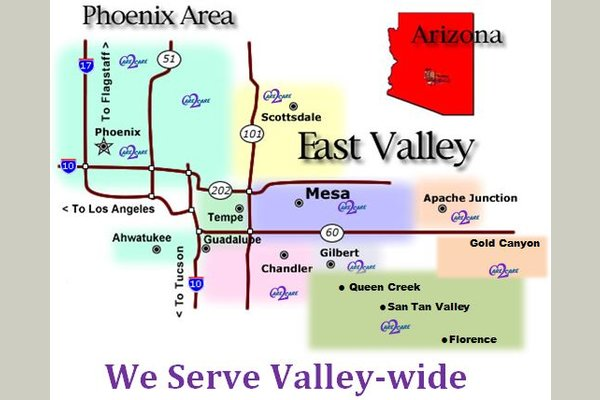 We offer services valley wide including Phoenix, Scottsdale, Gilbert, Mesa, Chandler, Tempe, Queen creek, Apache junction, Fountain hills & more